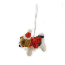 Mini Felt Fox Terrier Christmas Decoration