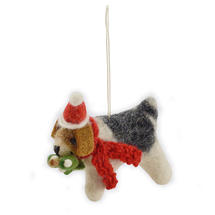 Felt Fox Terrier With Mistletoe Christmas Decoration