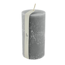 13.5 x 7cm Rustic Pillar Candle - Dove Grey