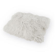 Tibetan Sheepskin Rectangular Cushion - Pearl