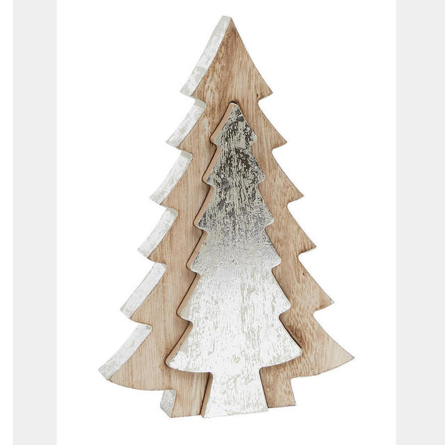 Christmas Tree Cutout.Wooden Tree With Silver Cut Out Tree