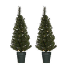 A Pair of Outdoor 90cm Christmas Trees with LED lights