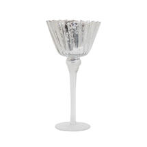Small Fluted Candle Holder in Antique Silver
