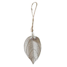 White Frosted Medium Leaf Decorations