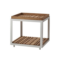 Level Side Table - White with teak