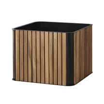 Teak Box Planter - Lava Grey
