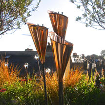 Copper Lily Sculptures Set of Three