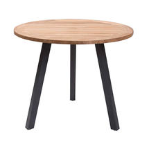 Atlantic Dining Table 90cm Round - Anthracite/Teak