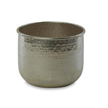 Round Hammered Finished Silver Planter - Small