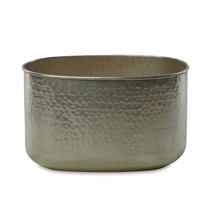 Oval Hammered Finished Silver Planter - Large
