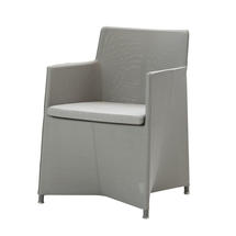 Diamond Dining Chair with All Weather Sunbrella Cushion - Light Grey