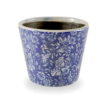 Old Delft Styled Pot - Blue/Flower