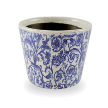 Old Delft Styled Pot - Leaf Scroll