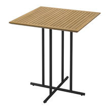 Whirl Square Bar Table Buffed Teak Top - Meteor