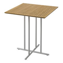 Whirl Square Bar Table Buffed Teak Top - White