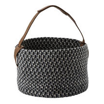 Outdoor Basket with leather handle  - Pewter