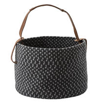 Outdoor Basket with leather handle - Graphite