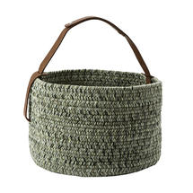 Outdoor Basket with leather handle - Moss