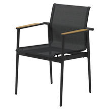 180 Stacking Chair with Teak Arms - Meteor/ Anthracite
