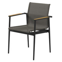 180 Stacking Chair with Teak Arms - Meteor/ Granite