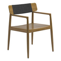 Archi Dining Chair with Arms - Buffed Teak in Raven