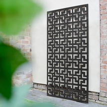 Geometric Patterned Metal Screen - Black