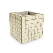 Small Square Mosaic Pot - White