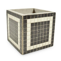 Medium Square Mosaic Pot - Black with White