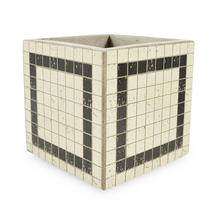 Medium Square Mosaic Pot - White with Black