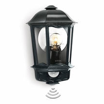 Motion Sensor Traditional Half Lantern L190S Black
