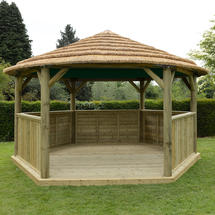 Hexagonal 4.7m Gazebo with Country Thatch Roof - Terracotta Roof Lining