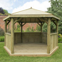 Hexagonal 4.0m Gazebo with Traditional Timber Roof