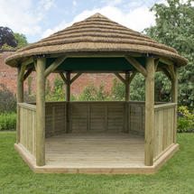 Hexagonal 4.0m Gazebo with Country Thatch Roof - Cream Roof Lining