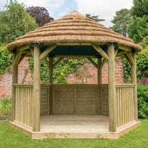 Hexagonal 3.6m Gazebo - Country Thatch Roof - Green Roof Lining