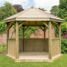 Hexagonal 3.6m Gazebo with Traditional Timber Roof