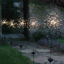 Allium Starburst LED Solar Outdoor Light Stake X 5