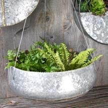 Hanging Bowl Planter - Galvanised steel