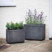 Vintage Style Ribbed Trough Planter set of 2