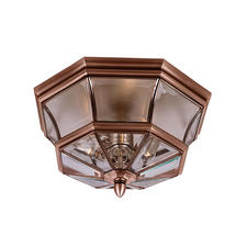 Newbury  Flush Mounted Porch Light - Aged Copper