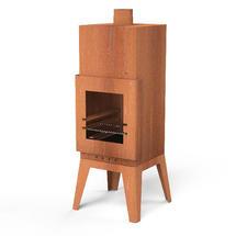 Square Corten Steel Fireplace