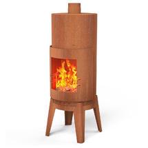 Cylinder Corten Steel Fireplace
