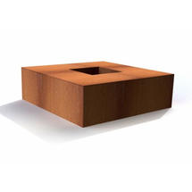 Corten Steel Square Garden Fire Pits - Small