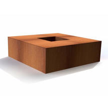 Corten Steel Square Garden Fire Pits - Large