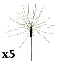 Allium Starburst LED Solar Outdoor Light Stake X 5