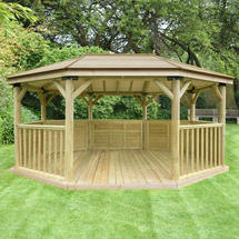 Oval 5.1m Gazebo with Traditional Timber Roof