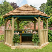 3.6m Hexagonal Gazebo with Thatch - Furnished Green