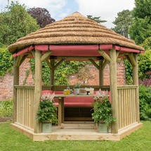 3.6m Hexagonal Gazebo with Thatch - Furnished Red