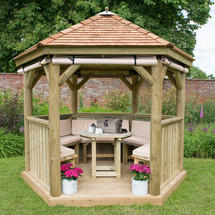 3m Hexagonal Gazebo with Cedar Roof - Furnished Cream