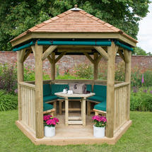 3m Hexagonal Gazebo with Cedar Roof - Furnished Green