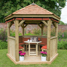 3m Hexagonal Gazebo with Cedar Roof - Furnished Terracotta
